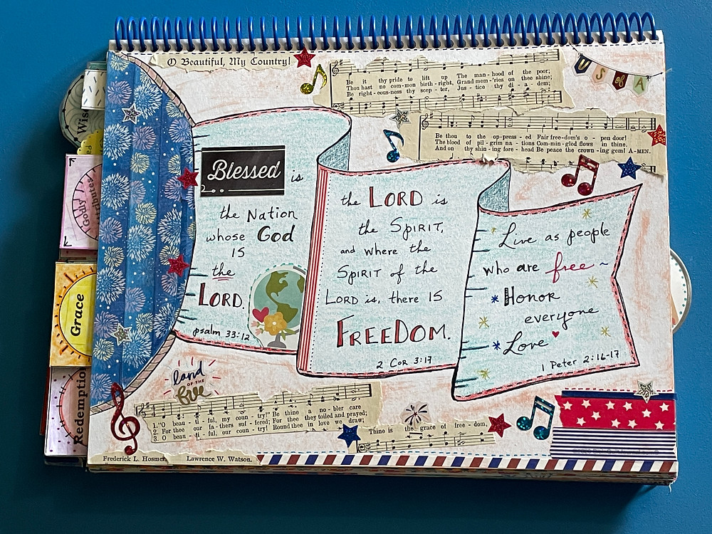 Beautiful Freedom page in Bible Quilt Journal
