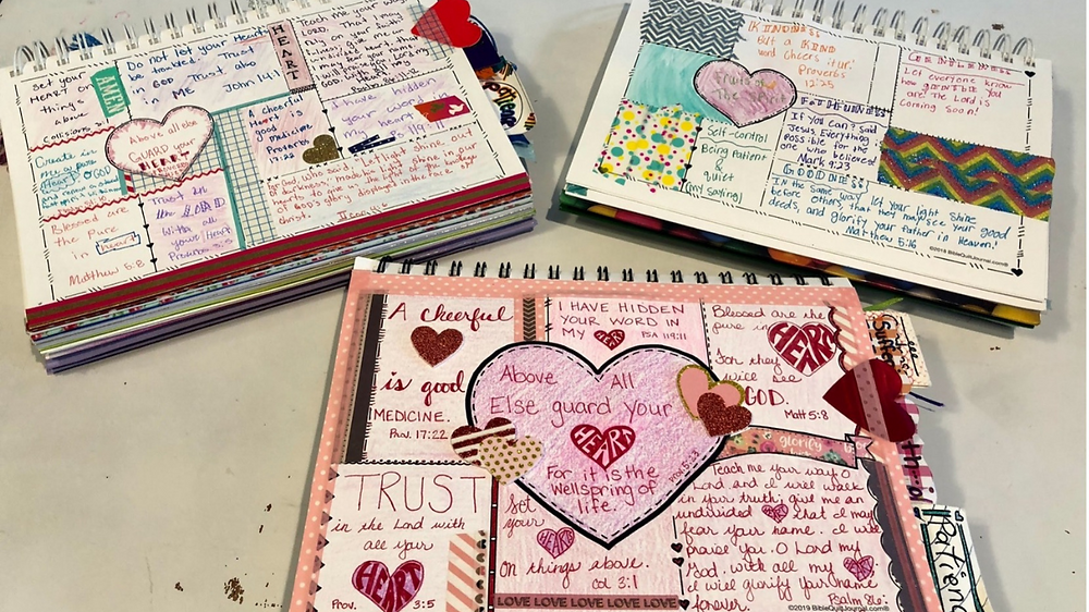 Sample Bible Quilt Journals - heart pages