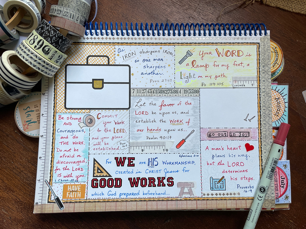 Toolbox template sample Bible Quilt journal page