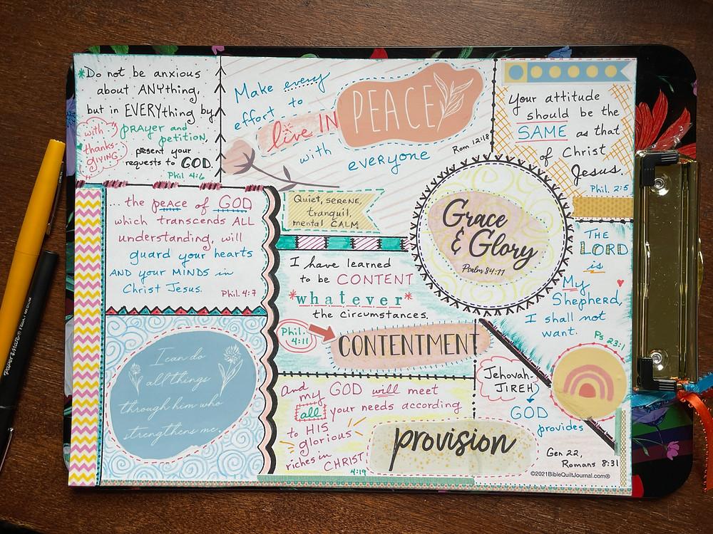 Sample Bible Quilt Journal page - Philippians ch 4