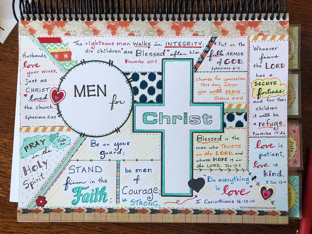 Prayer page for Men in Bible Quilt Journal