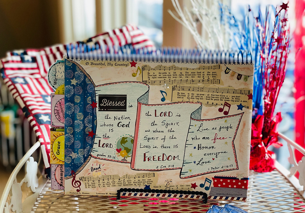 Freedom page on Flying Flag template in Bible Quilt Journal