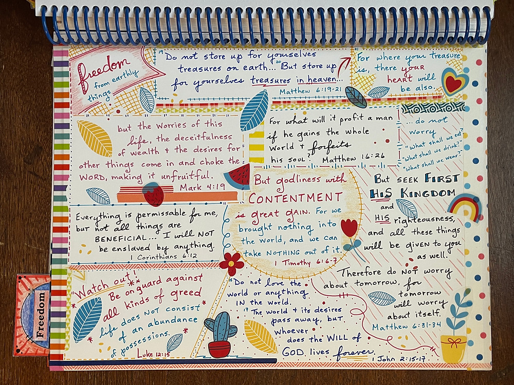 Freedom from Earthly Things #biblequiltjournal page