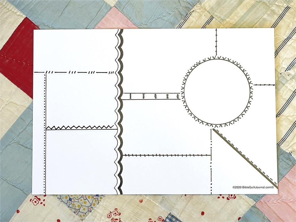 Block with Circle template for Bible Quilt Journal