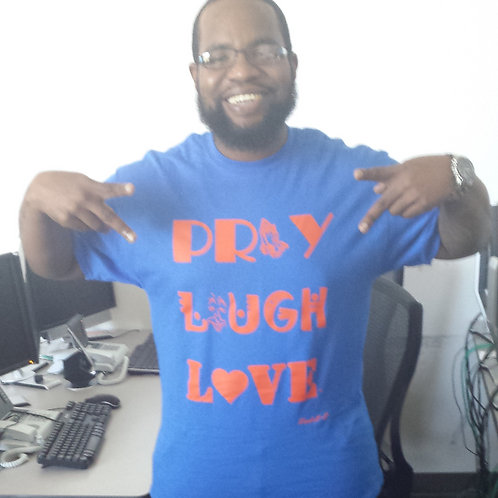 Pray, Laugh, Love T-Shirt- Blue & Orange (Adult)