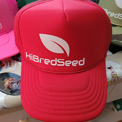 RED HIBRED SEED TRUCKER HAT