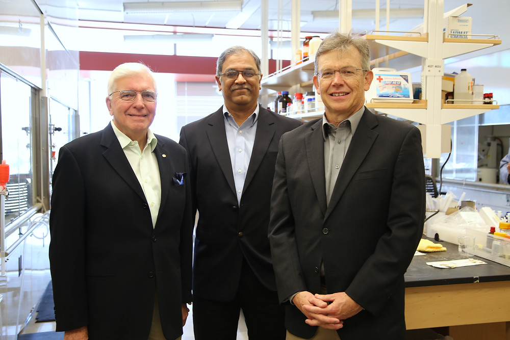 The Reglagene team, from left: Dr. Laurence Hurley, Dr. Vijay Gokhale and Dr. Richard Austin. Photo credit: Paul Tumarkin/Tech Launch Arizona