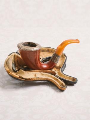 Antique pipe in case