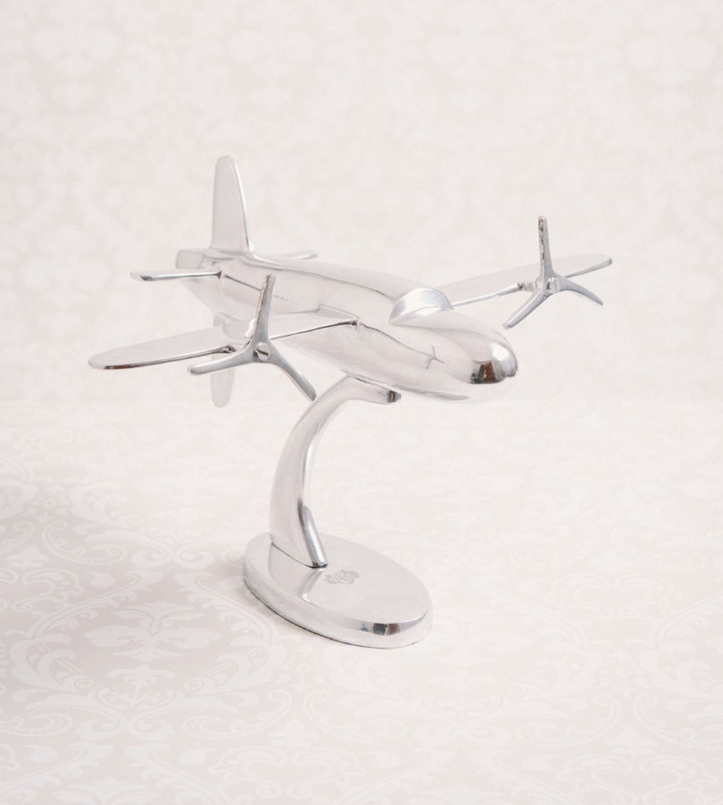 Silver airplane decoration