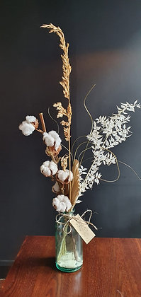 Dried Flowers in Chunky Recycled Glass Vase