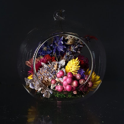 Dried Flower Glass Globe Hanging Decoration