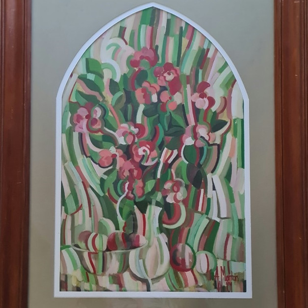 18. A W Morton - Still Life of Roses and Fruit