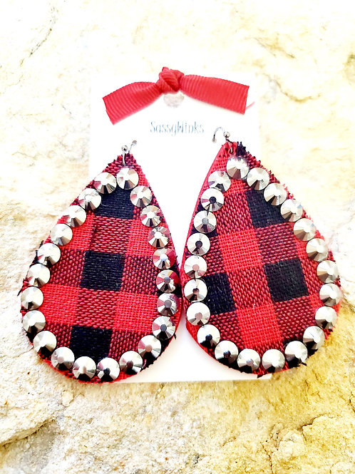 Buffalo Plaid Sparkle Teardrops (369)