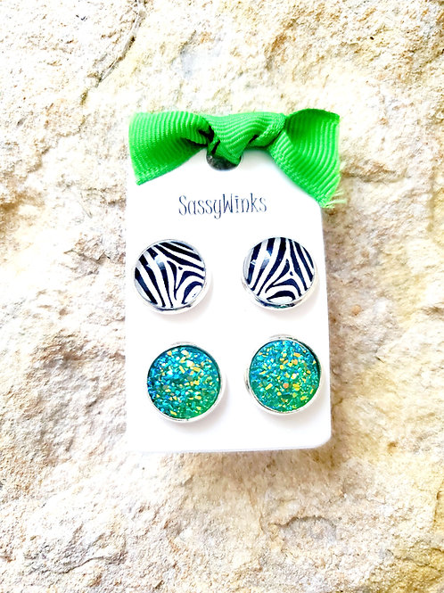Zebra & Green Studs (390)
