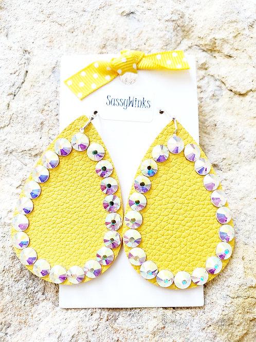 Sunshine Yellow Sparkle Teardrops (259)