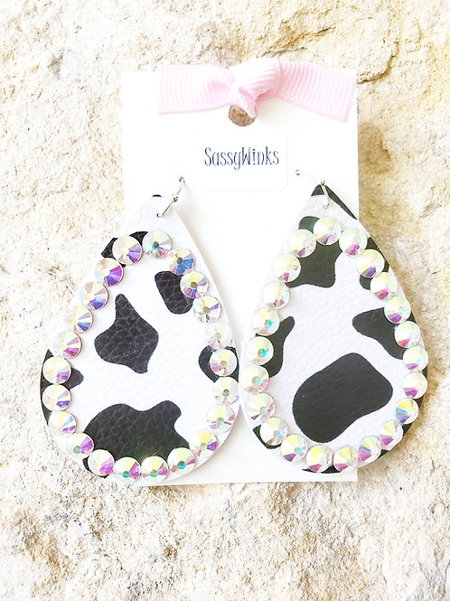 Cow Print Sparkle Teardrops (123)