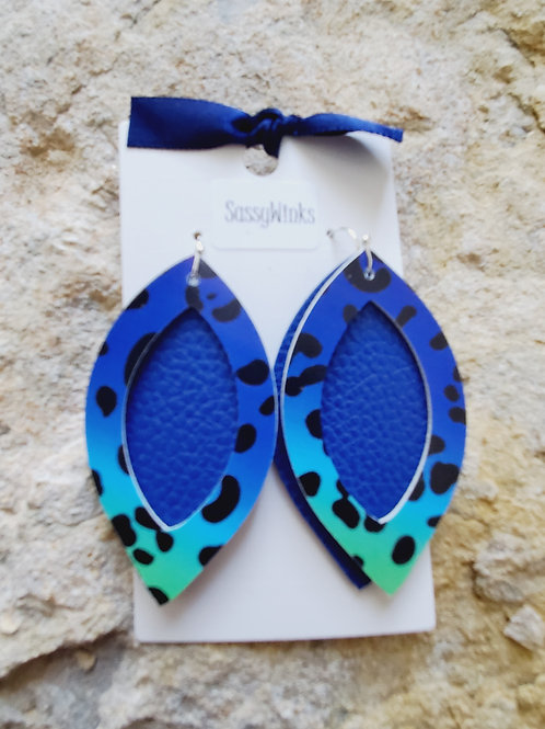 Blue Cheetah Open Oval Layers (479)