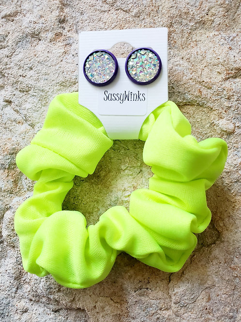 Neon Yellow Scrunchie & Stud Set