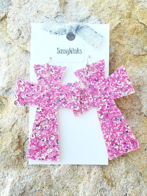 Confetti Pink Glitter Crosses (625)