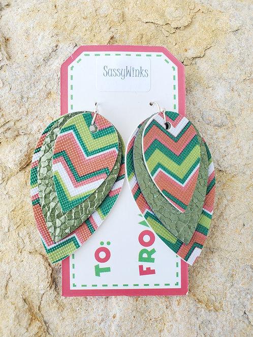 Triple Layered Candy Stripe Reverse Teardrops (588)