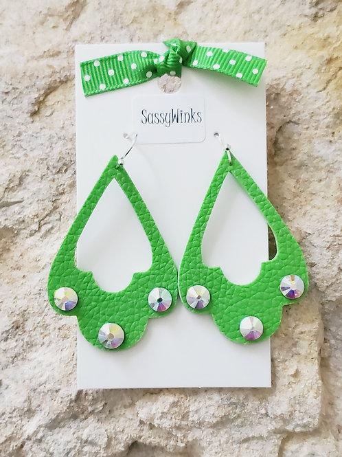 Lime Green Sparkle Scallops (795)