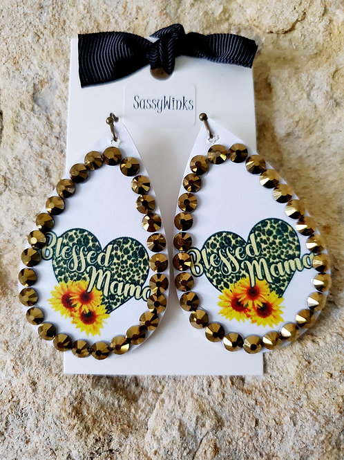 'Blessed Mama' Sparkle Teardrops (210)
