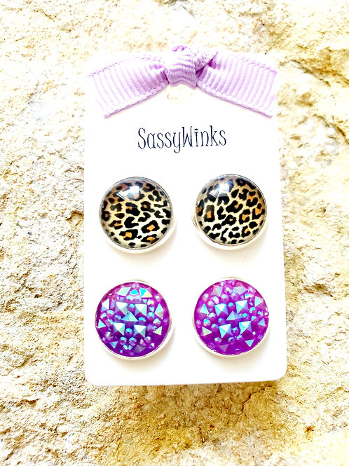 Cheetah & Purple Studs (504)