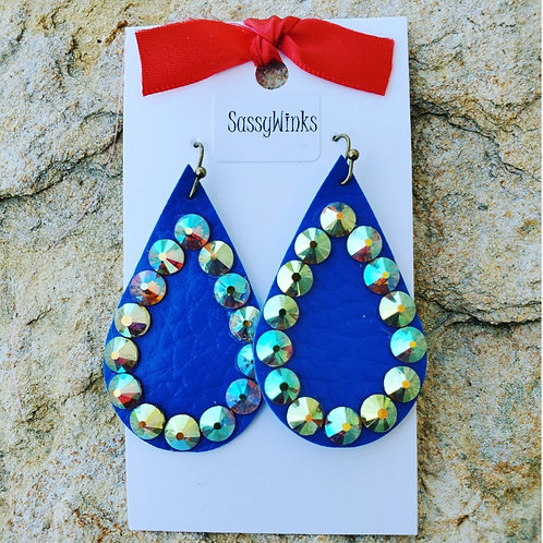 Blue Sparkle Teardrops (573)