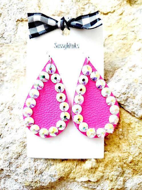 Neon Pink Sparkle Teardrops (340)