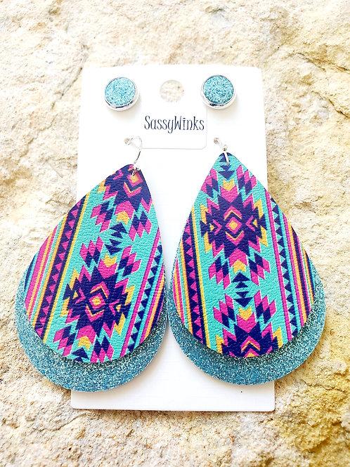 Aztec Turquoise Glitter Layers & Studs (197)