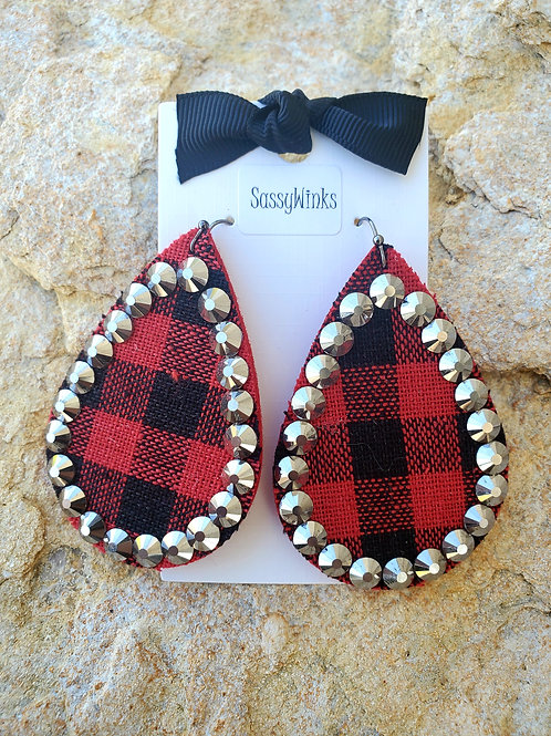 Buffalo Plaid Sparkle Teardrops (163)