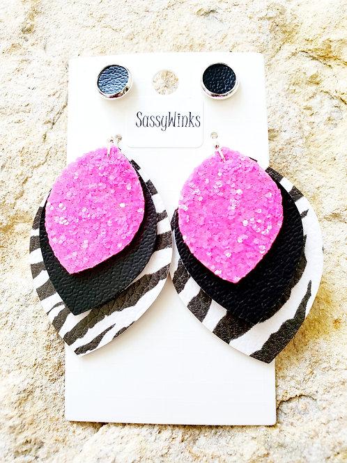 Zebra & Hot Pink  Layered Teardrops & Studs (206)