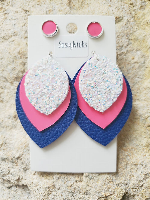 Blue Pink Triple Layered Teardrops & Studs (527)