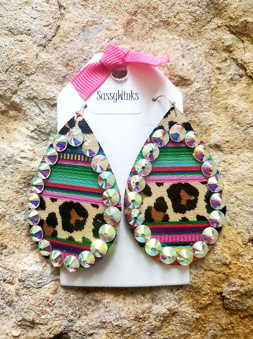 Cheetah Serape Sparkle Teardrops (358)