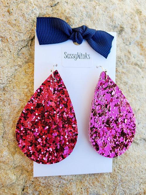 Pink Glitter Teardrops (416)