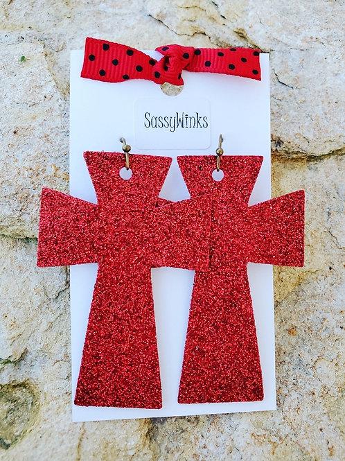 Red Glitter Crosses (291)