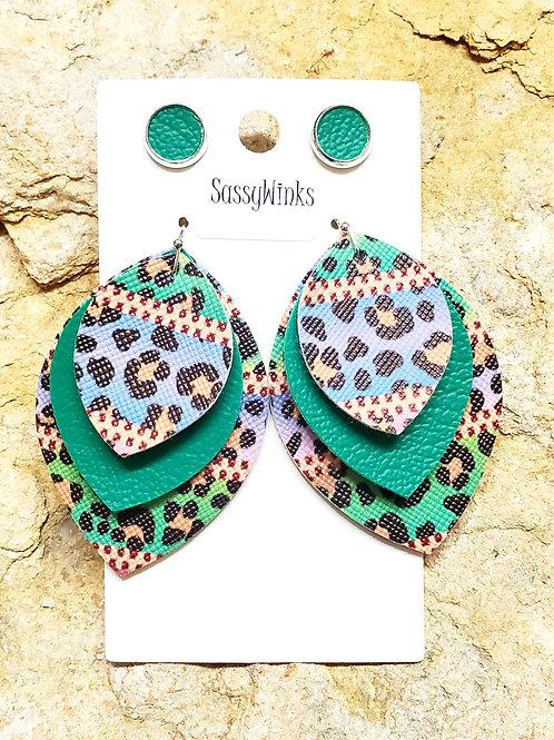 Multicolor Leopard Triple Layered Teardrops & Studs (212)