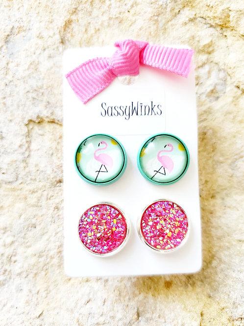 Flamingo & Pink Studs (425)