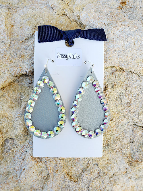 Pewter Gray Sparkle Teardrops (225)
