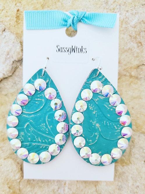 Turquoise Embossed Sparkle Teardrops (307