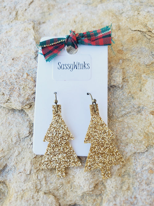 Gold Glitter Christmas Tree Minis (668)
