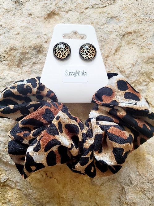 Cheetah Scrunchie & Stud Set (Brown)