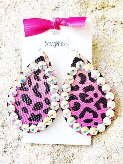Hot Pink Leopard Sparkle Teardrops (350)