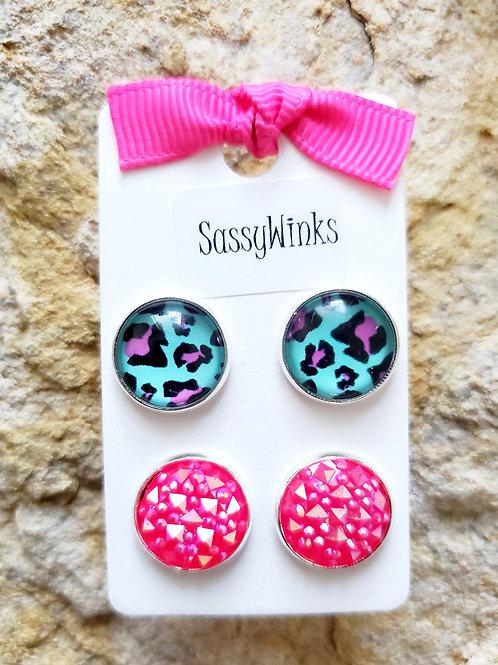 Turquoise & Pink Cheetah Studs (330)