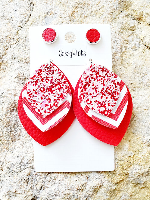 Valentine Red Glitter Triple Layered Teardrops & Studs (320)