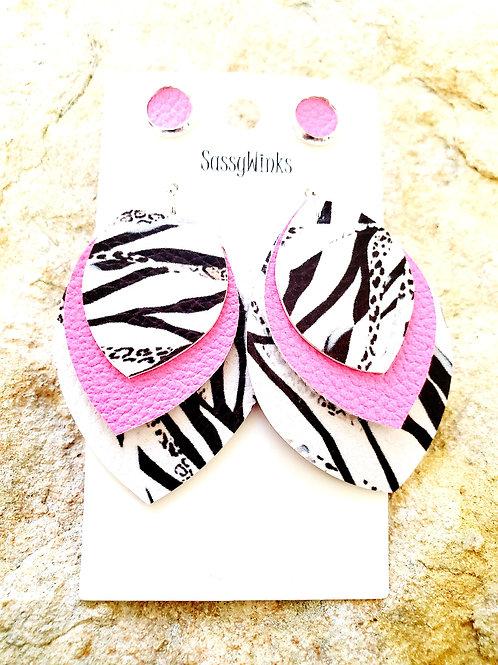 Hot Pink Zebra Triple Layered Teardrops & Studs (347)