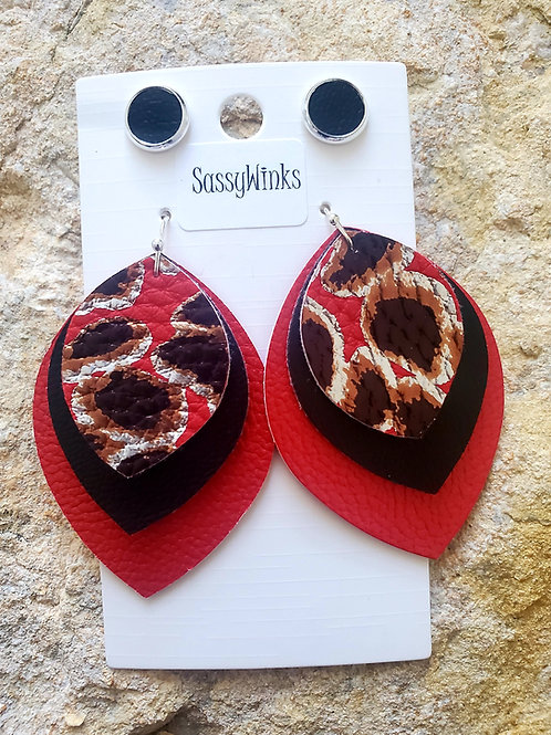 Red Leopard Layered Teardrops & Studs (112)