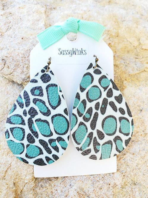 Sea Green Cheetah Teardrops (295)