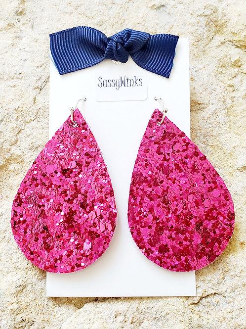 Pink Glitter Teardrops (239)