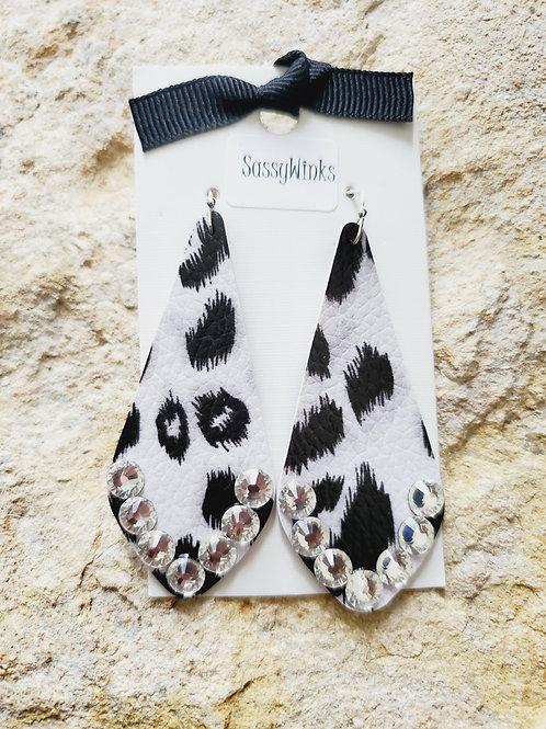 Gray Cheetah Sparkle Slender Teardrops (629)